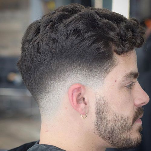 Low Bald Fade with Curly Fringe