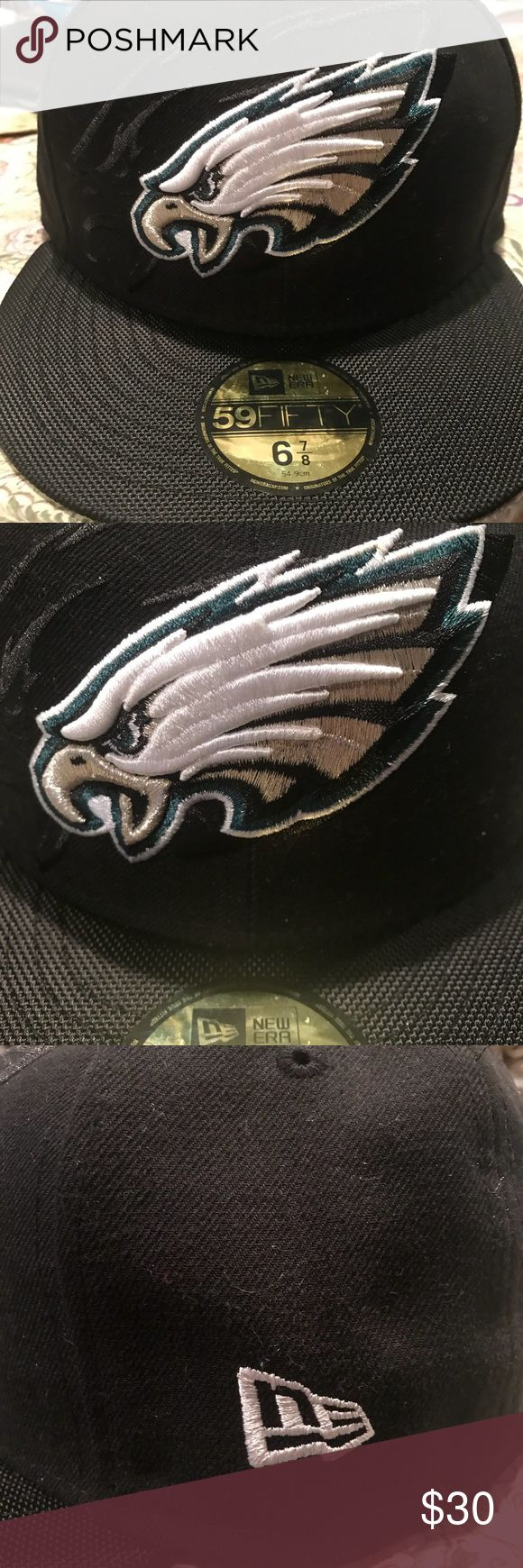 Philadelphia Eagles New Era Fitted Hat Men's Philadelphia Eagles New Era Black On-Field Low Crown 59FIFTY Fitted Hat size 6 7/8 New Era Accessories Hats