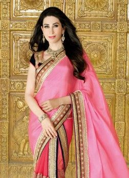 VandV Karishma Kapoor Pink Colour Net & Chiffon Buy latest wedding sarees online in india