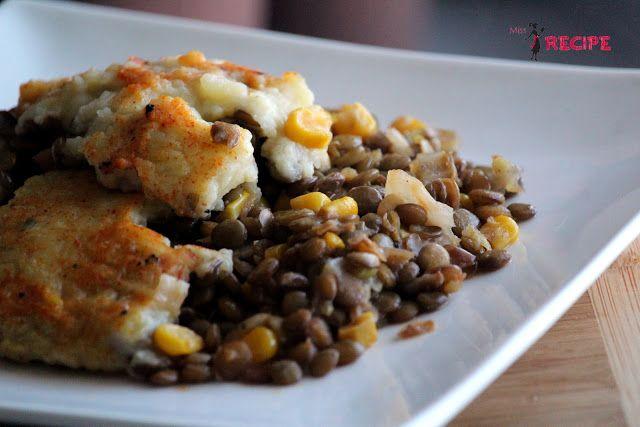 Pâté chinois aux lentilles et maïs rôti à l'érable - Miss-Recipe.com