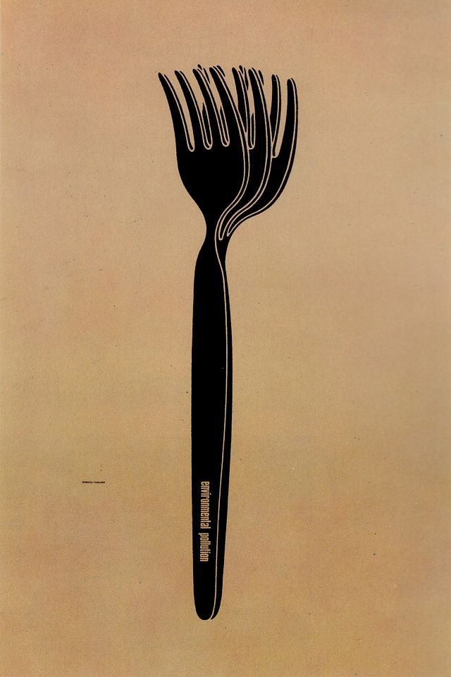Japanese Poster Design : Environmental pollution (Shigeo Fukuda, 1973)