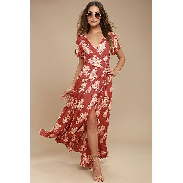 Heart of Marigold Rust Red Floral Print Wrap Maxi Dress ($68) ❤ liked on Polyvore featuring dresses, red, beige maxi skirt, long maxi skirts, tie-dye maxi skirts, maxi skirt and floral maxi dress