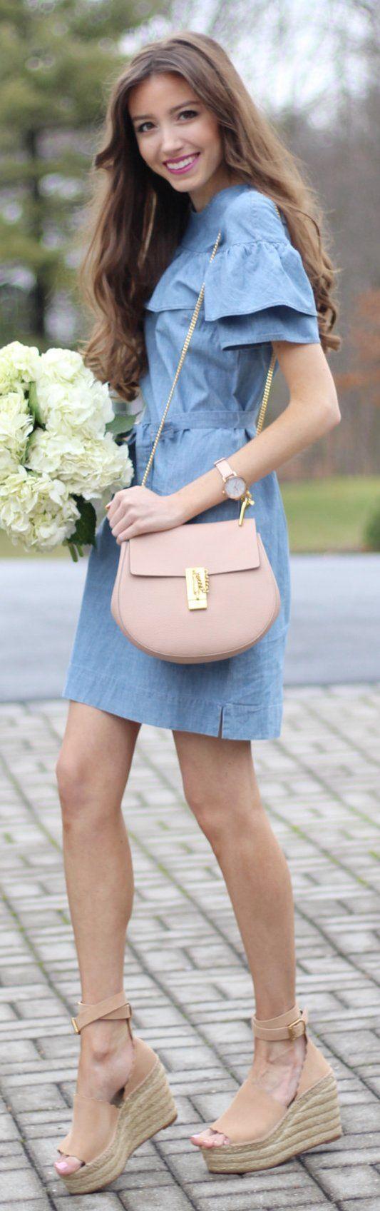 Blue Dress / Pink Leather Shoulder Bag / Beige Suede Platform
