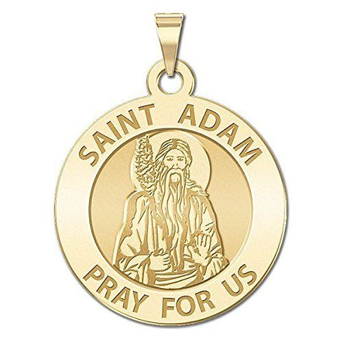 Saint Adam Round Religious Medal - - Available in Solid 14K Yellow or White Gold, or Sterling Silver