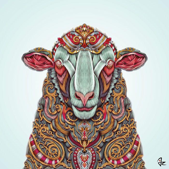 """Sheep"" digital painting by Giulio Rossi https://goo.gl/rsA67T"