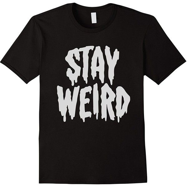 """Stay Weird"" Creepy Cute Pastel Goth Graphic T-Shirt ($24) ❤ liked on Polyvore featuring tops, t-shirts, graphic design tees, graphic tops, graphic print t shirts, gothic tops and goth tops"