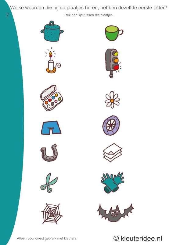 Welke woorden van de plaatjes hebben dezelfde beginletter 7 , kleuteridee.nl, free printable.