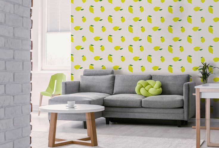 Lemon removable wallpaper, peel and stick wall mural with