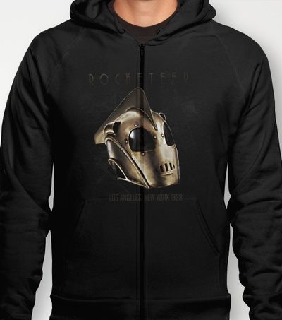 """""""ROCKETEER!"""" men's and women's fitted T's and Hoodies in various colours and sizes available at Society6! HOODIES $38 FITTED T's $22"""