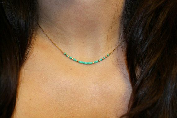 "16"" Teal beaded choker, teal necklace, teal necklace, minimal teal necklace, minimal necklace, tiny bead necklace"