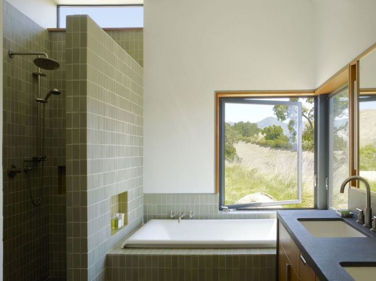 Captivating Detached Home Composed in Amazing Structure: Impressive Santa Ynez House Bathroom With Built In White Rectangular Tub With Grey ...