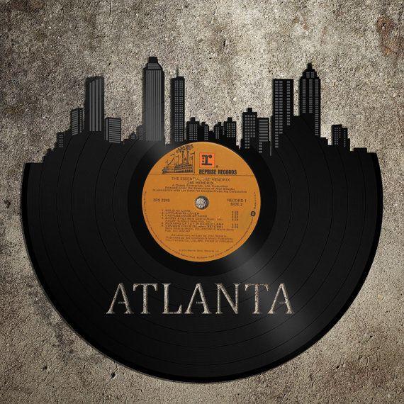 Atlanta Skyline Cityscape Wall  Art Vinyl Record  by VinylShopUS