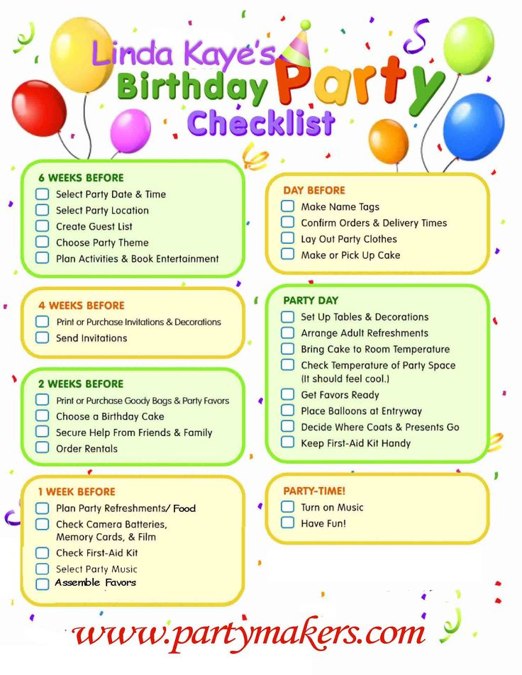 birthday party planning checklist Use this birthday party checklist  you will be prepared for birthday fun birthday party supply checklist template  birthday party planning checklist template.