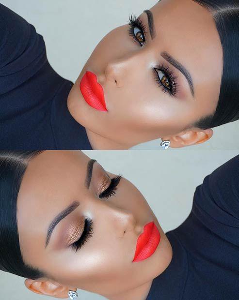 Bright Orange Lips Makeup Look for Summer