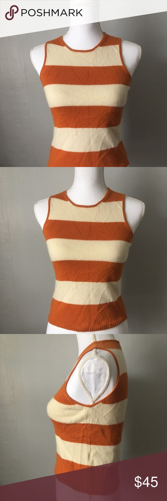 """KORS Michael Kors 100% Cashmere Striped Shell This bright orange and cream rugby striped shell by Kors Michael Kors is the ultimate in preppy buy glamorous. 100% cashmere wraps you in cloud like softness while the stripes say, """"I'm ready to play!""""  Size small. Lots of stretch. 14"""" pit to pit flat without being stretched. Perfect paired with a darkwash denim jacket and your favorite Neutral shorts for spring! Crewneck. Size small. KORS Michael Kors Sweaters Crew & Scoop Necks"""