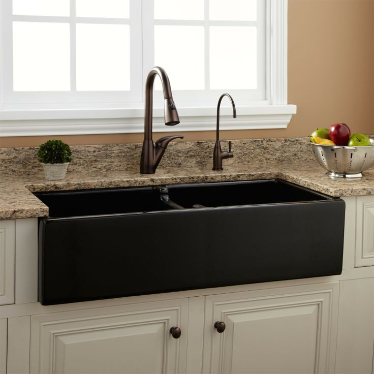 "39"" Risinger Double Bowl Fireclay Farmhouse Sink - Smooth Apron - Farmhouse Sinks - Kitchen Sinks - Kitchen"