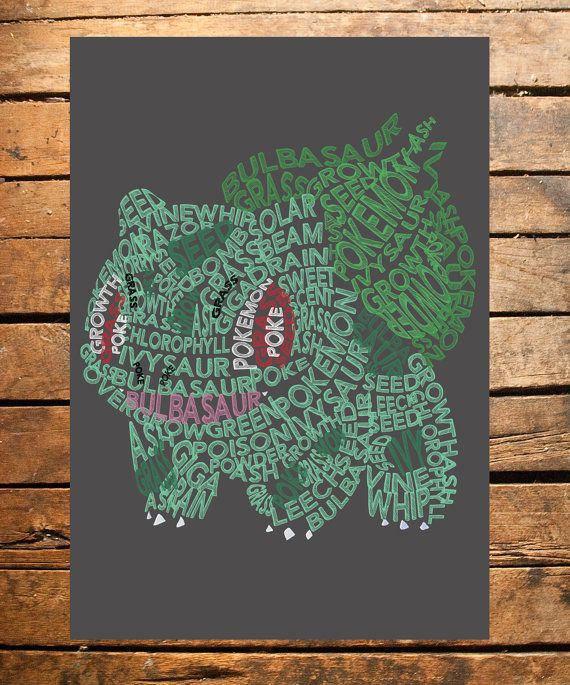 This digital print is a typography based upon the popular Pokemon, Bulbasaur. The print would make a perfect addition to the bedroom decor of