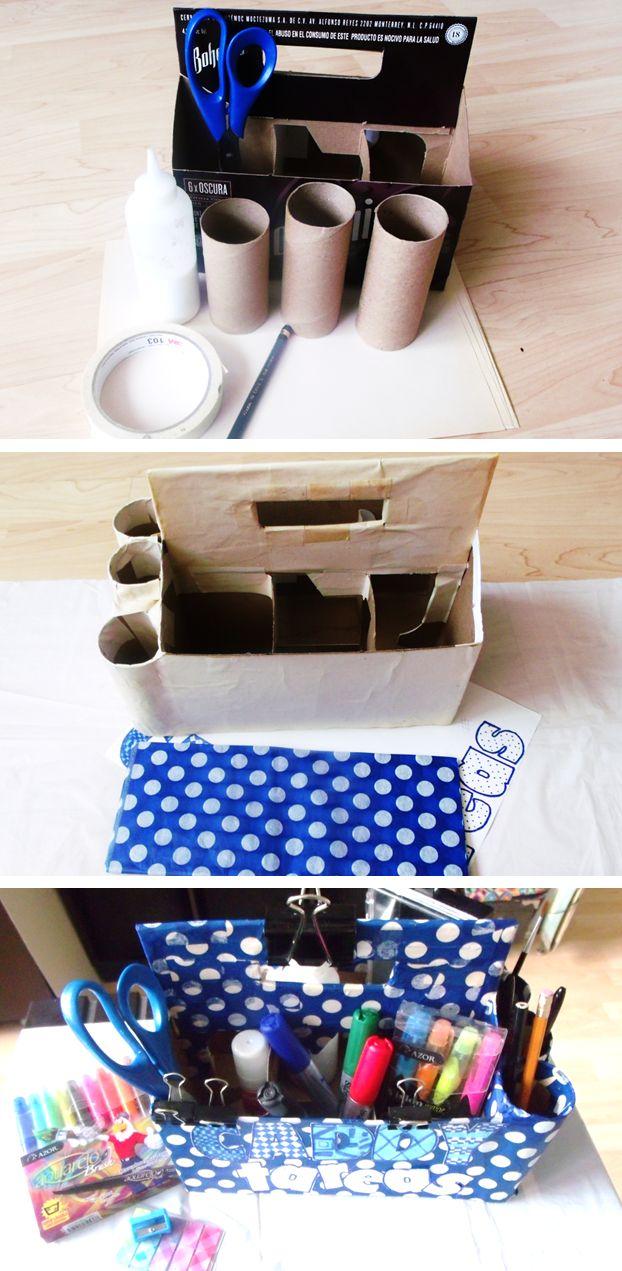Todo en orden con este organizador de útiles. #DIY #lapiceras #colores