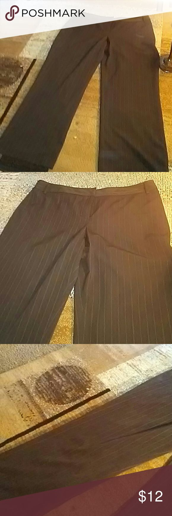 Brown stripped pants size 18 regular Brown with tiny stripped pants belt loops and to close open a button and hook. Long in leg and 18 regular. WOMENS apt.9 Pants Trousers