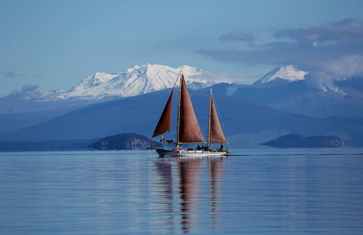 Lake Taupo with Mt Ruapehu  in the background