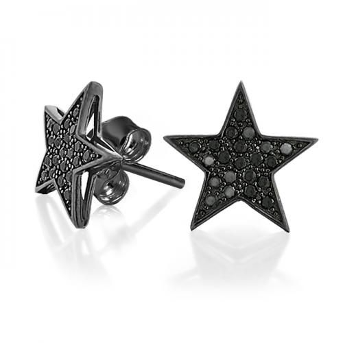 Black Rhodium Push Back CZ Black Micro Pave Star Earrings 12mm