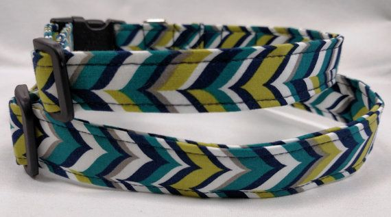 Blue and Green Herringbone  Dog Collar by HalasPaws on Etsy