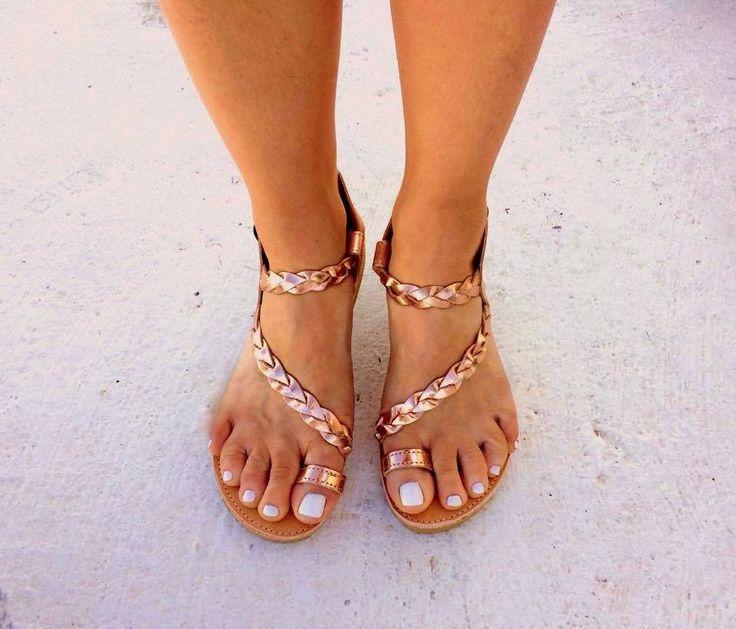 gold pink sandals greek handmade flat sandals strappy sandals wedding sandals gladietor sandals handmade braided toe ring sandals by aeliasandals on Etsy