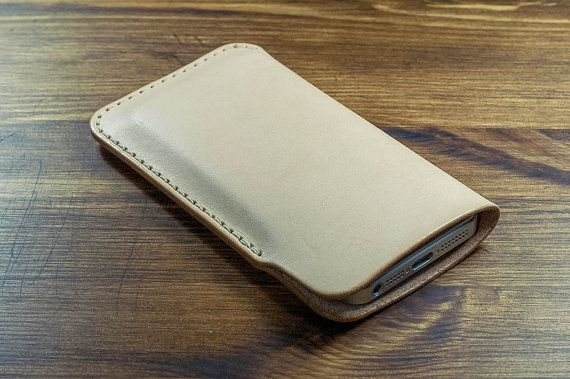 Natural leather iPhone sleeve.