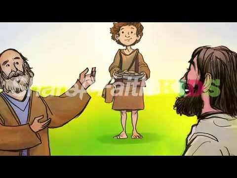 Jesus Feeds 5000 Bible Video For Kids: In Matthew 14:13-21 Jesus and his disciples find themselves surrounded by a crowd of over 5000 people. Jesus, feeling compassion, looks out into this vast crowd and decides to feed them. Much to his disciples surprise Jesus commands that they pass out 5 loaves and two fishes. Miraculously this small amount of food multiplies and feeds everyone! Includes award winning graphics and powerful narration.