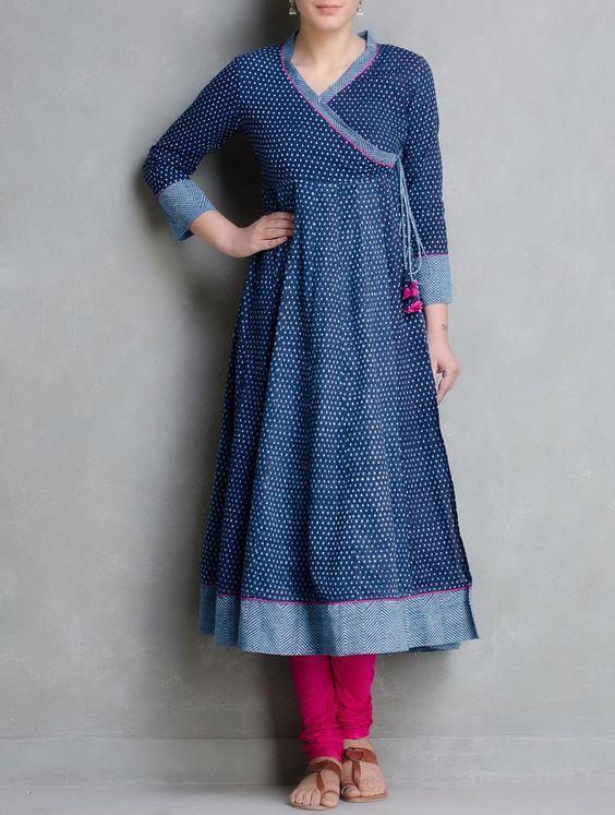 Buy Indigo Hand Block Printed Kalidar Angrakha by Aavaran Cotton Women Tops Muse Dabu Dyed Kurtas Skirts & More from Rajasthan Online at Jaypore.com: