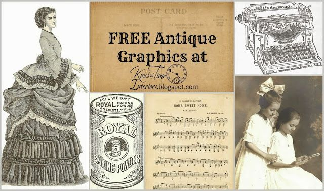 FREE Antique Graphics for scrapbooking, iron-on transfers, mixed media collage and much more! ~via KnickofTime.net