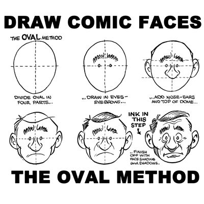 There are many different methods, techniques, and strategies to drawing the comic cartoon head and face. We are going to cover the oval method of cartooning faces today. This is one of the more popular methods of drawing a cartoon face. The below example is for drawing the comic face from the front.