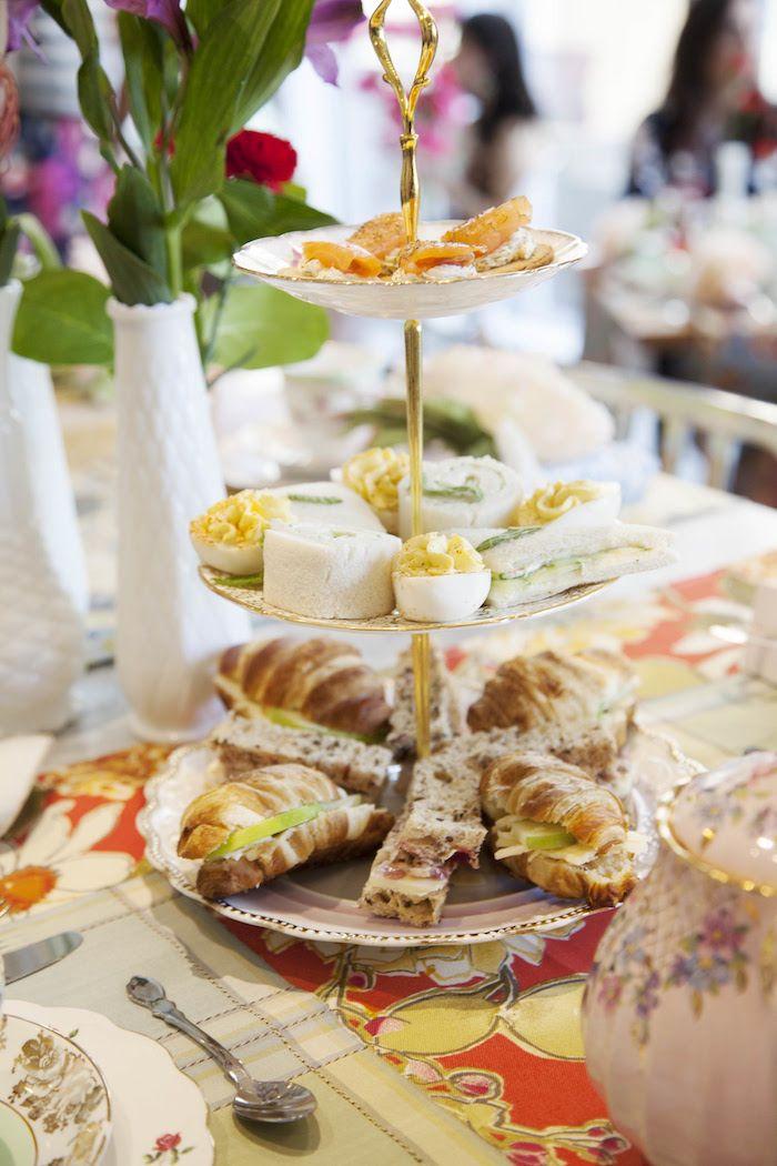 ideas for bridal shower brunch food%0A Food from a Garden Tea Party Bridal Shower on Kara u    s Party Ideas    KarasPartyIdeas com