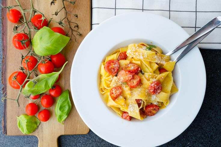 Pappardelle with roasted tomatoes