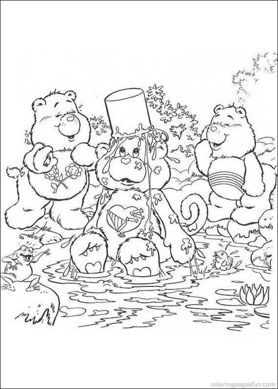 Care Bears Having A Bath Coloring Page Find Out Your Favorite Sheets In CARE BEARS Pages Enjoy With The Colors Of
