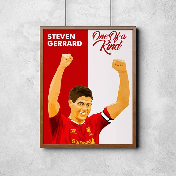 Liverpool FC Steven Gerrard Poster You'll Never Walk Alone Anfield Stadium England Soccer Football Jürgen Klopp Premier League Merseyside