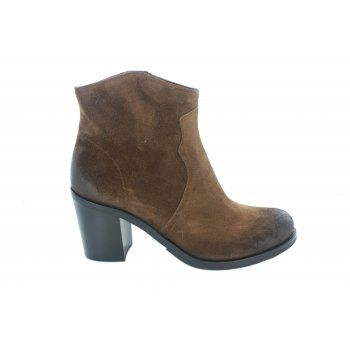 Fitzpatricks shoes Carina short boot with a zip up the inside leg. Available in black leather and brown suede.