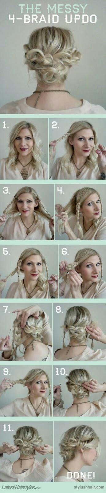 Messy braided updo tutorial for shorter hair