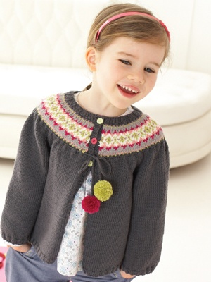 So cute. Love the pom pons. Another Debbie Bliss style - perfect for the 5-10 year span.