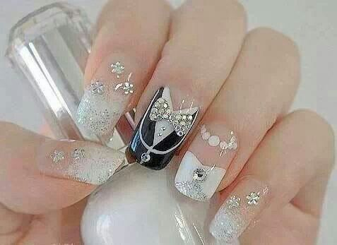Cute wedding or maybe New Year's nail art