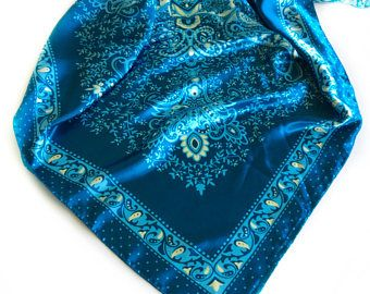 Sky Blue Paisley scarf, Gift for Cancer Patient, Blue head Scarf, Coworker Gift, Ocean Blue Chemo Scarves under 10, Gift for Nurse or Doctor by blingscarves. Explore more products on http://blingscarves.etsy.com