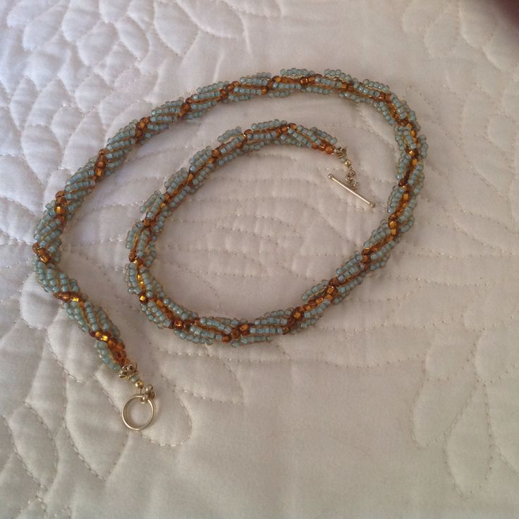 Aqua and Amber beads in spiral bracelet.