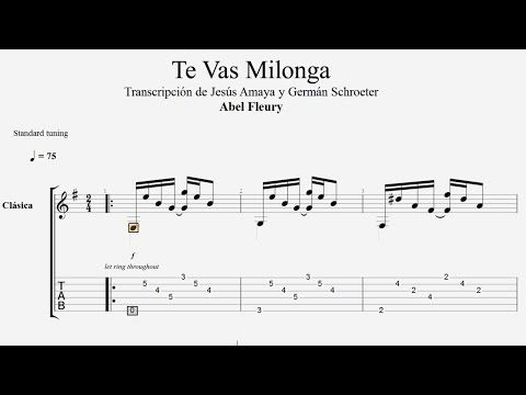 Te Vas Milonga Abel Fleury Tablatura Por Jesús Amaya Youtube Notas Musicales
