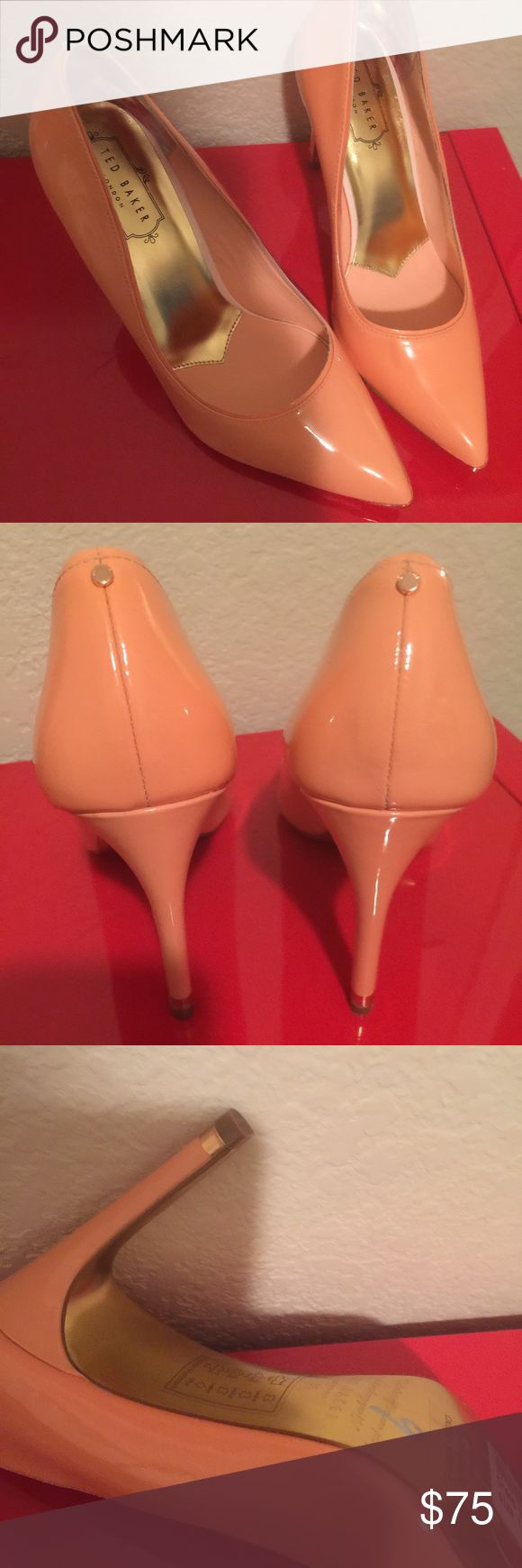 Ted Baker Neevo peach heels 8 Adorable for coming Spring time  Size 7 No wear on heel no scuffs Shows they're been worn on front bottom in last picture Ted Baker Shoes Heels