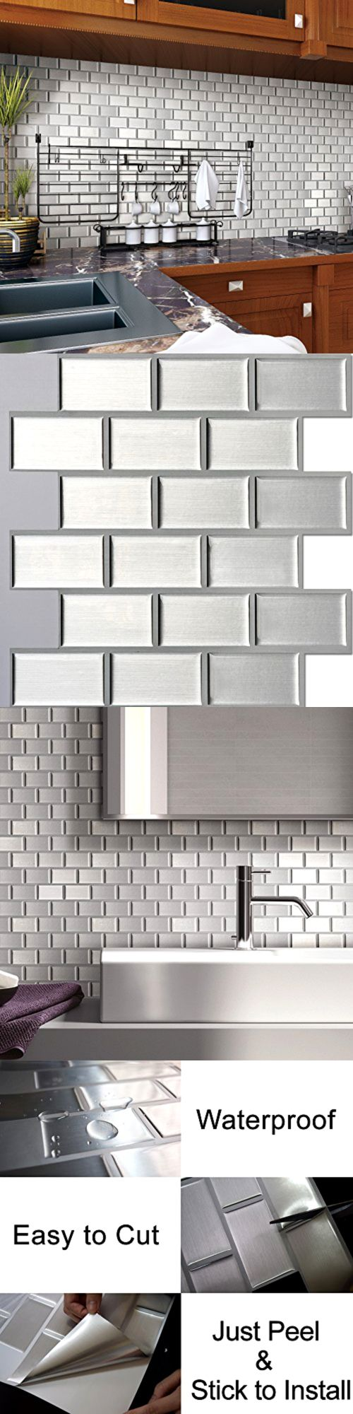best 25 stick on tiles ideas only on pinterest kitchen walls other flooring 20604 peel stick self adhesive wall tile kitchen backsplash silver brick style pack