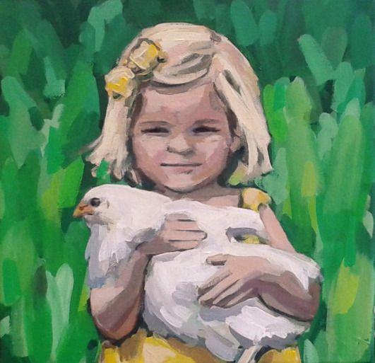Saskia Obdeijn - Meisje met kip (gele jurk)