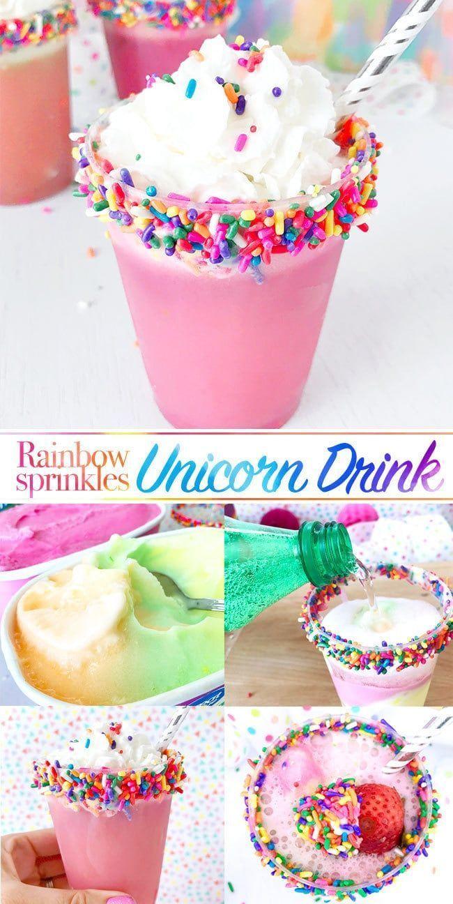 Rainbow Sprinkles Unicorn Drink Przyjecia Urodzinowe Impreza