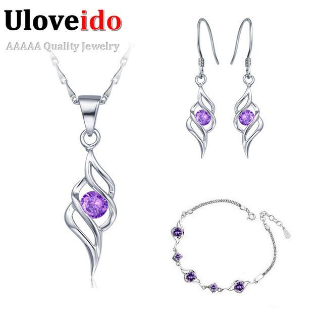 Sistemas de la joyería para Las Mujeres al por mayor 925 de Plata púrpura de Cristal de La Boda pulsera conjunto de colares e brincos de 60% Off Ulove T183