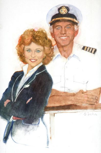 Portrait of actors Lauren Tewes and Gavin MacLeod in dress as their characters on ABC's The Love Boat, featured as the cover art for the June 5-June 11 issue of TV Guide magazine, United States, 1982, by Bernie Fuchs.
