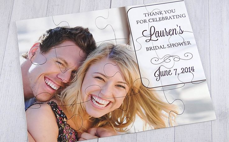 Personalized Puzzle Favor - Save the Date- Wedding Favor | Party Favor by CordiallyInvitedShop on Etsy https://www.etsy.com/listing/218140319/personalized-puzzle-favor-save-the-date